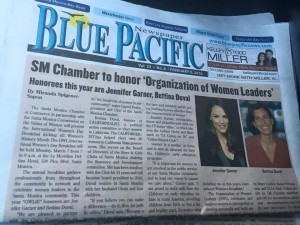 Coverstory in Blue Pacific News on the 2016 OWL International Women's Day Breakfast Honoring Jennifer Garner & Bettina Duval